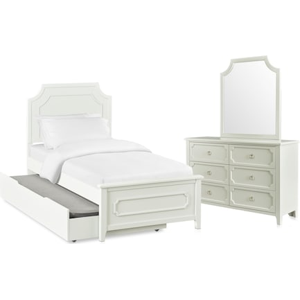 Elle 5-Piece Twin Trundle Bedroom Set with Dresser and Mirror - Gray