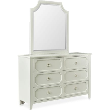 Elle Dresser and Mirror - Gray