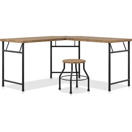 Ezekiel Desk and Stool Set - Light Oak