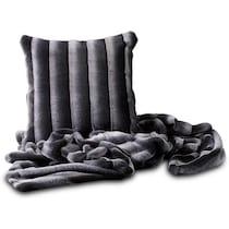 faux fur gray accent pillow
