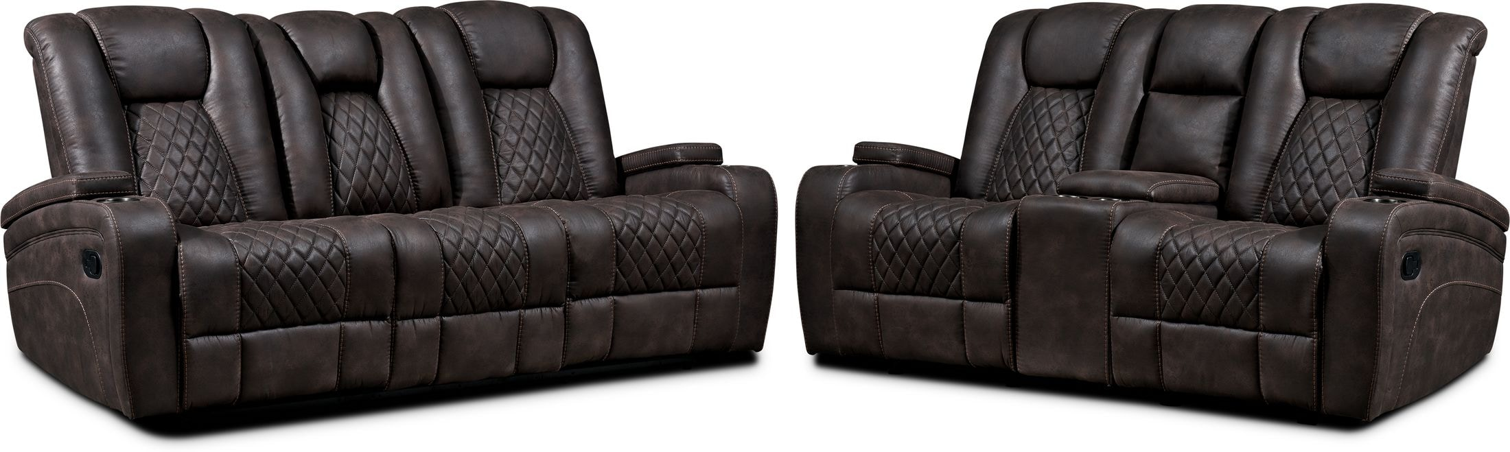 Living Room Furniture - Felix Manual Reclining Sofa and Loveseat - Brown