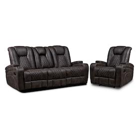 Felix Manual Reclining Sofa and Recliner - Brown
