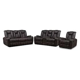 Felix Manual Reclining Sofa, Loveseat and Recliner - Brown