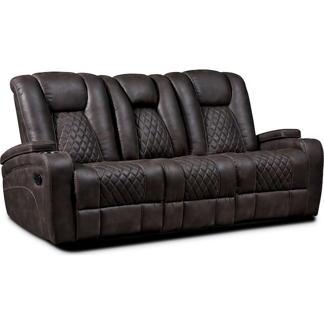 Living Room Furniture - Felix Manual Reclining Sofa - Brown