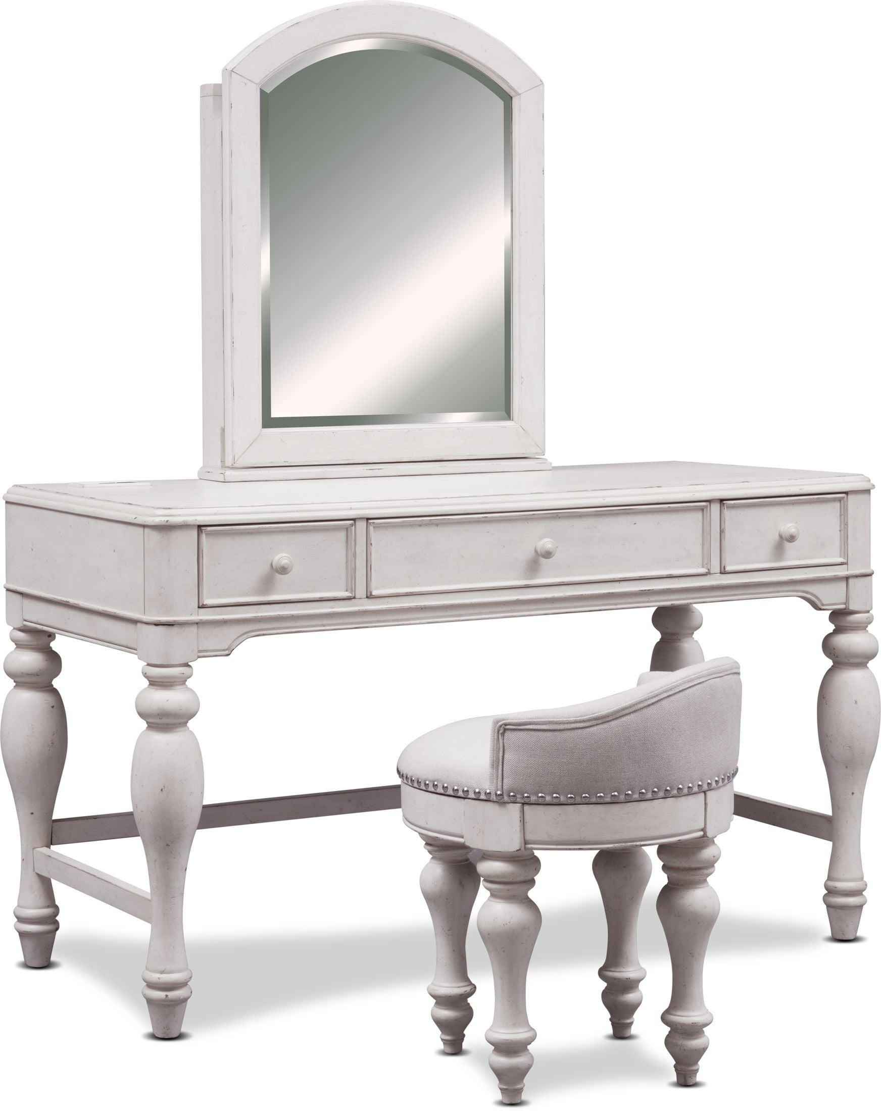 Accent and Occasional Furniture - Florence Vanity with Mirror and Stool
