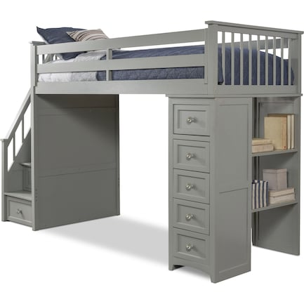 Flynn Loft Bed With Storage Stairs And, Loft Bed With Drawers And Desk