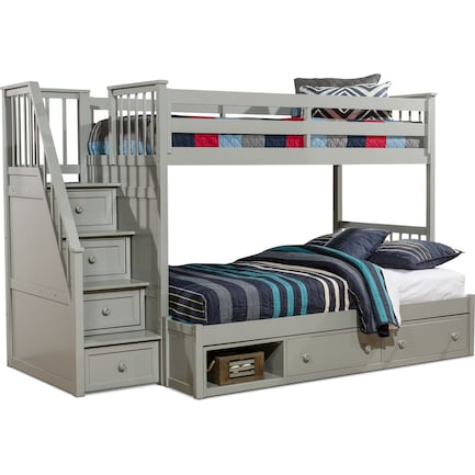 Flynn Twin over Full Storage Bunk Bed with Storage Stairs  - Gray