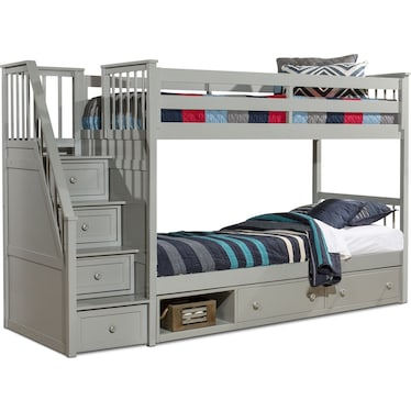 Flynn Twin over Twin Storage Bunk Bed with Storage Stairs  - Gray