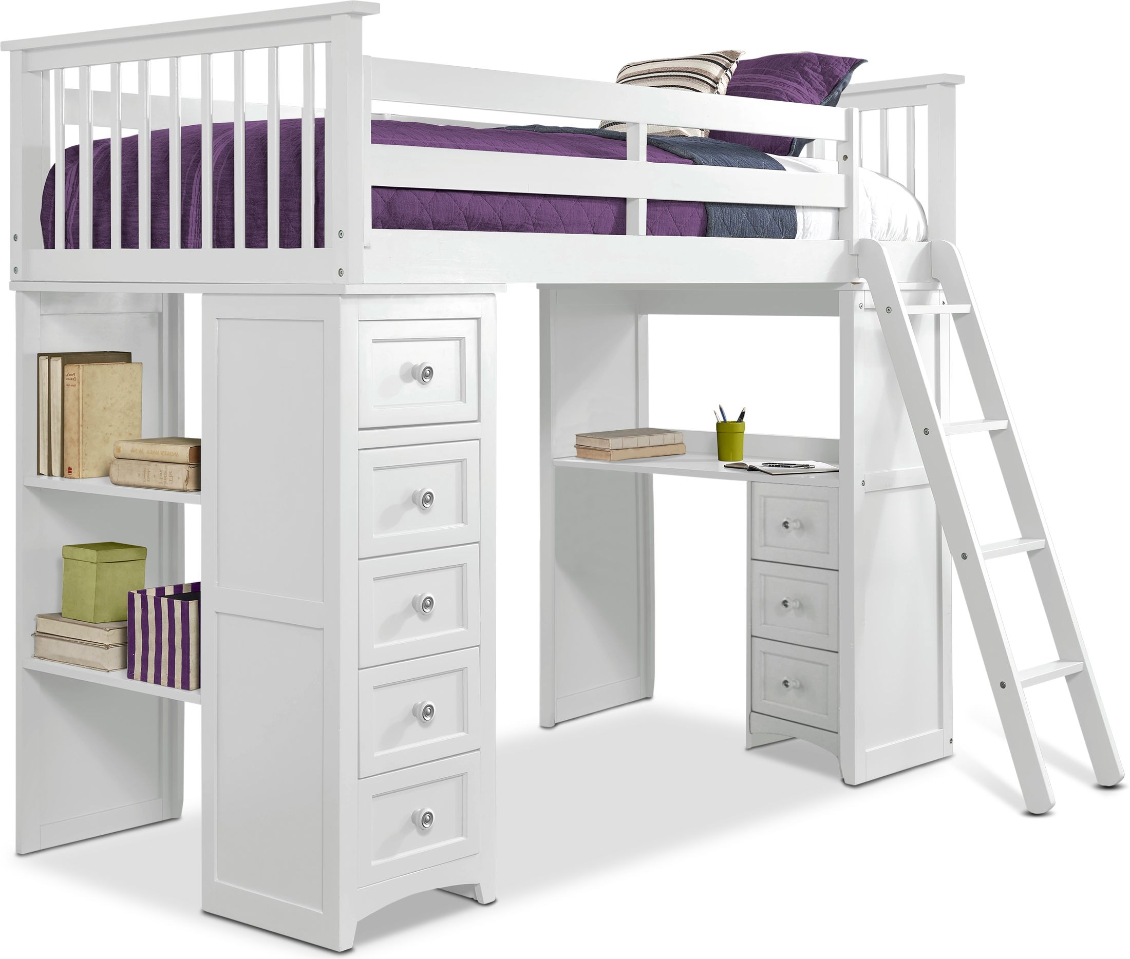 Picture of: Flynn Loft Bed With Desk And Chest Value City Furniture