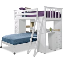 flynn youth white twin over twin loft bed with desk and chest