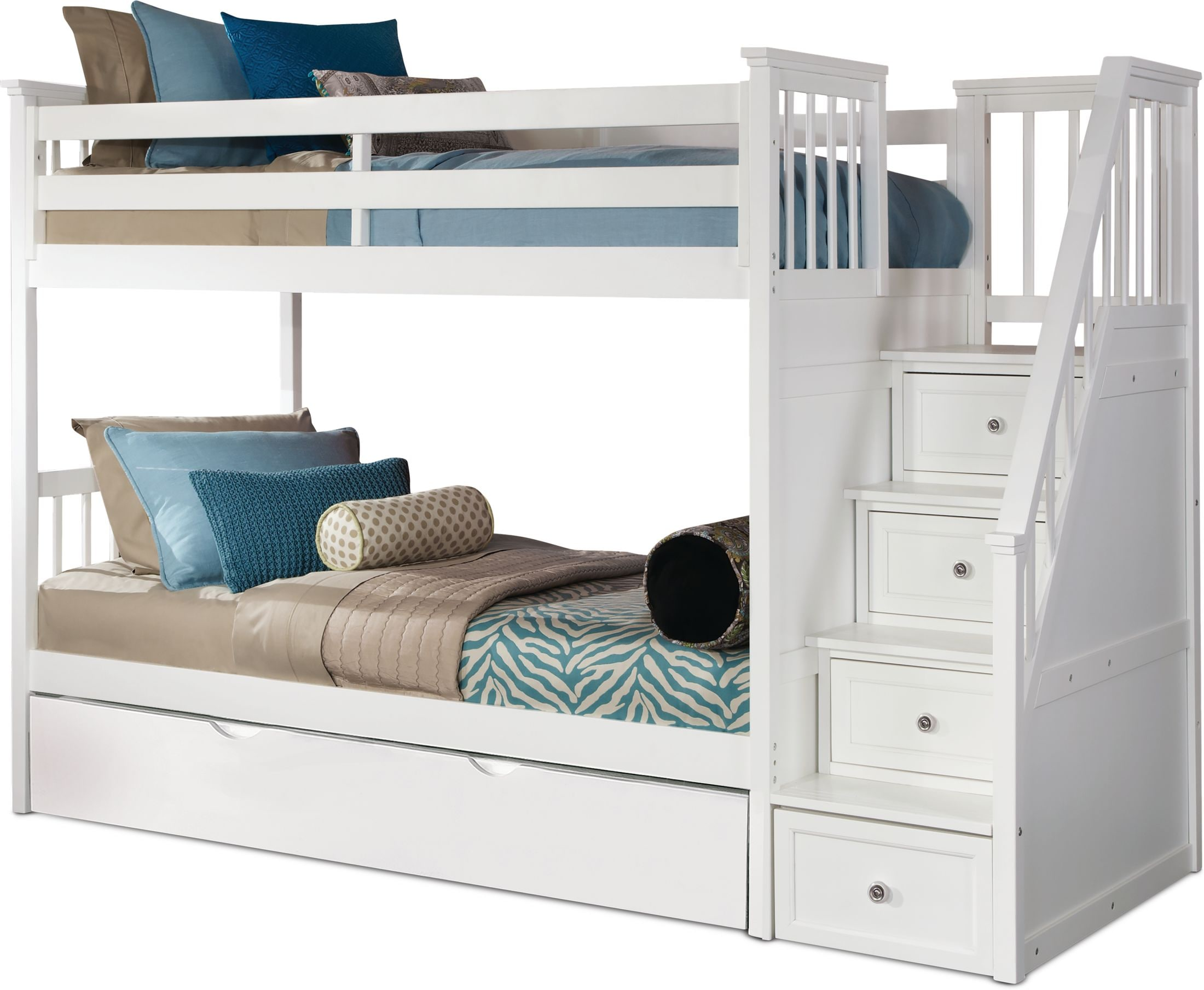 Flynn Trundle Bunk Bed With Storage Stairs Value City Furniture