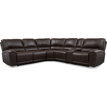 Gallant 6-Piece Dual-Power Reclining Sectional with 3 Reclining Seats - Chocolate