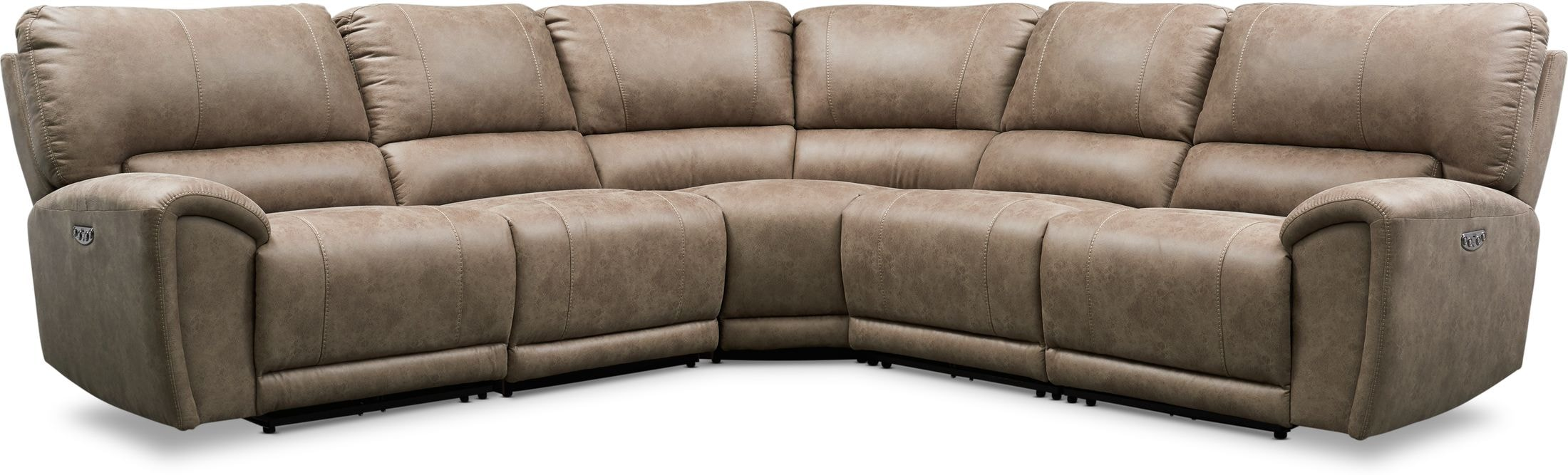 Living Room Furniture - Gallant 5-Piece Dual-Power Reclining Sectional with 3 Reclining Seats