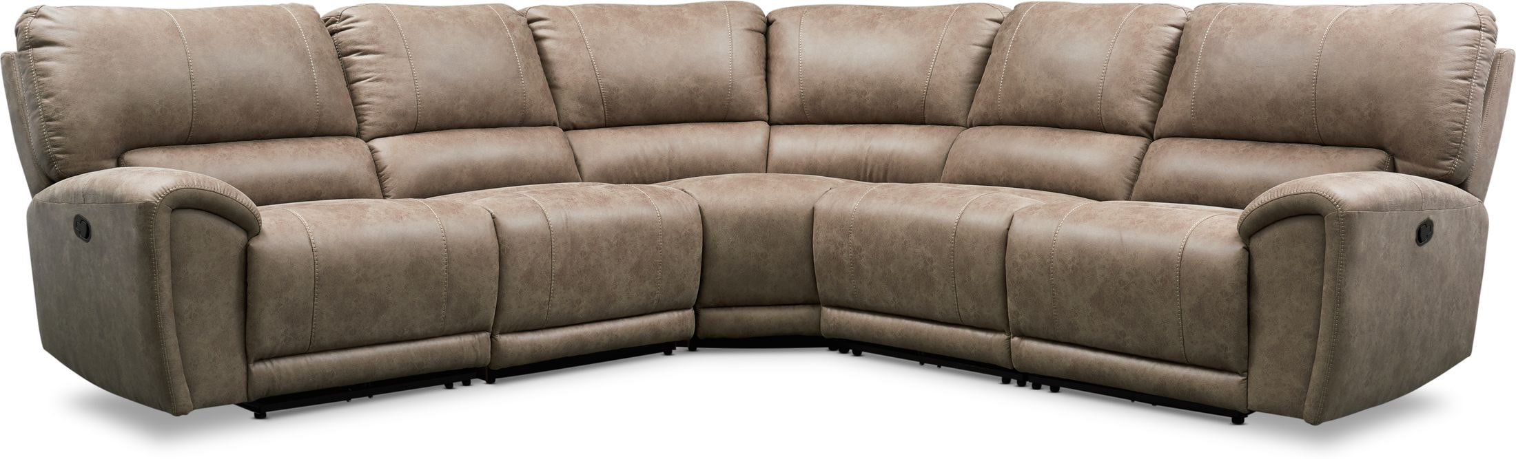Living Room Furniture - Gallant 5-Piece Manual Reclining Sectional with 3 Reclining Seats