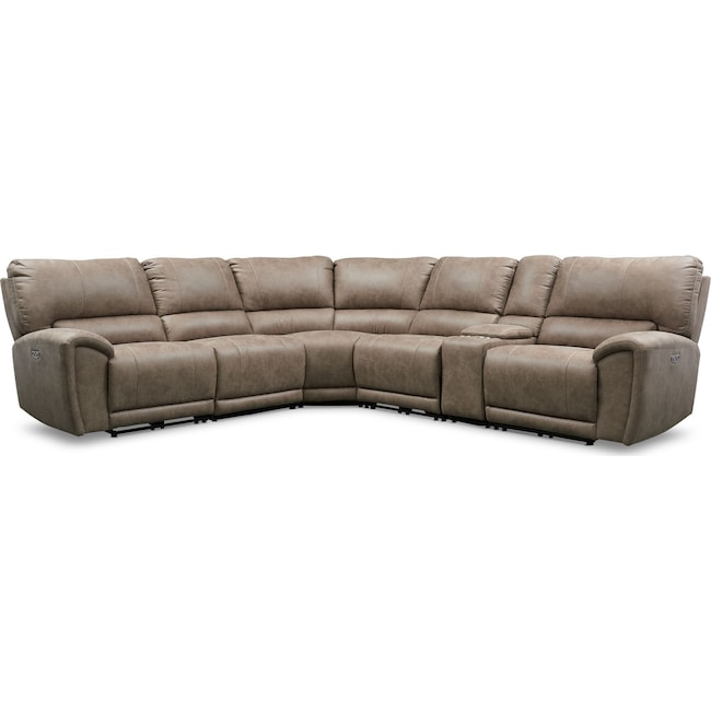 Gallant 6-Piece Dual-Power Reclining Sectional with 3 Reclining Seats