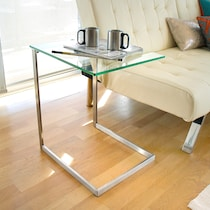 gallo glass and stainless steel end table
