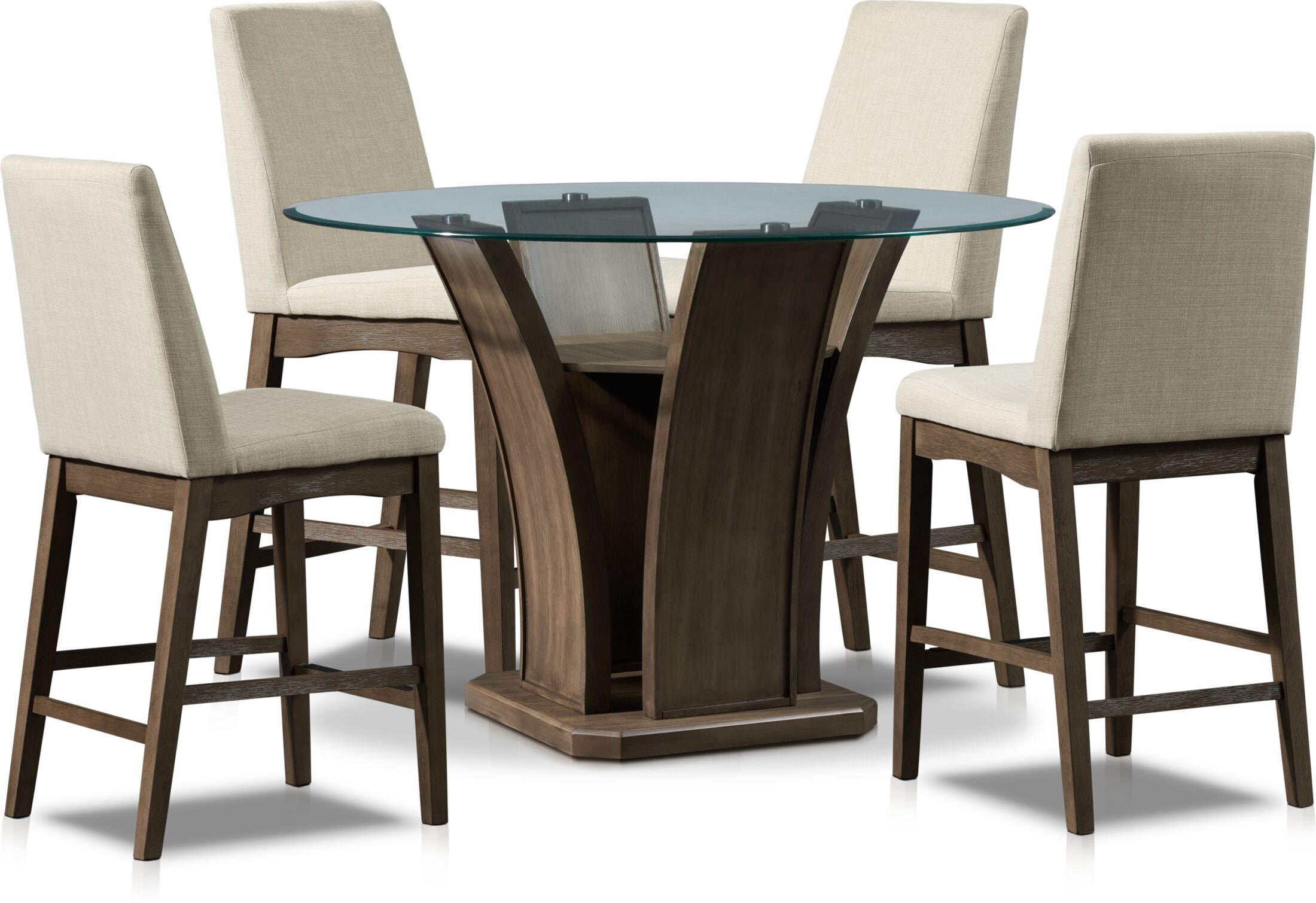 Dining Room Furniture - Gemini Counter-Height Dining Table and 4 Stools