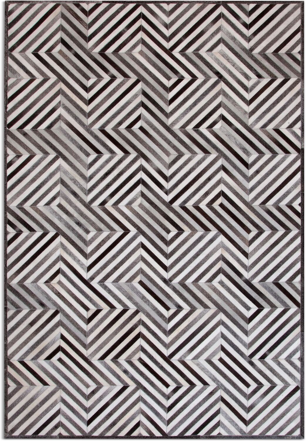 Rugs - Geo Hide Area Rug - Gray