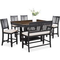 glendale black  pc counter height dining room