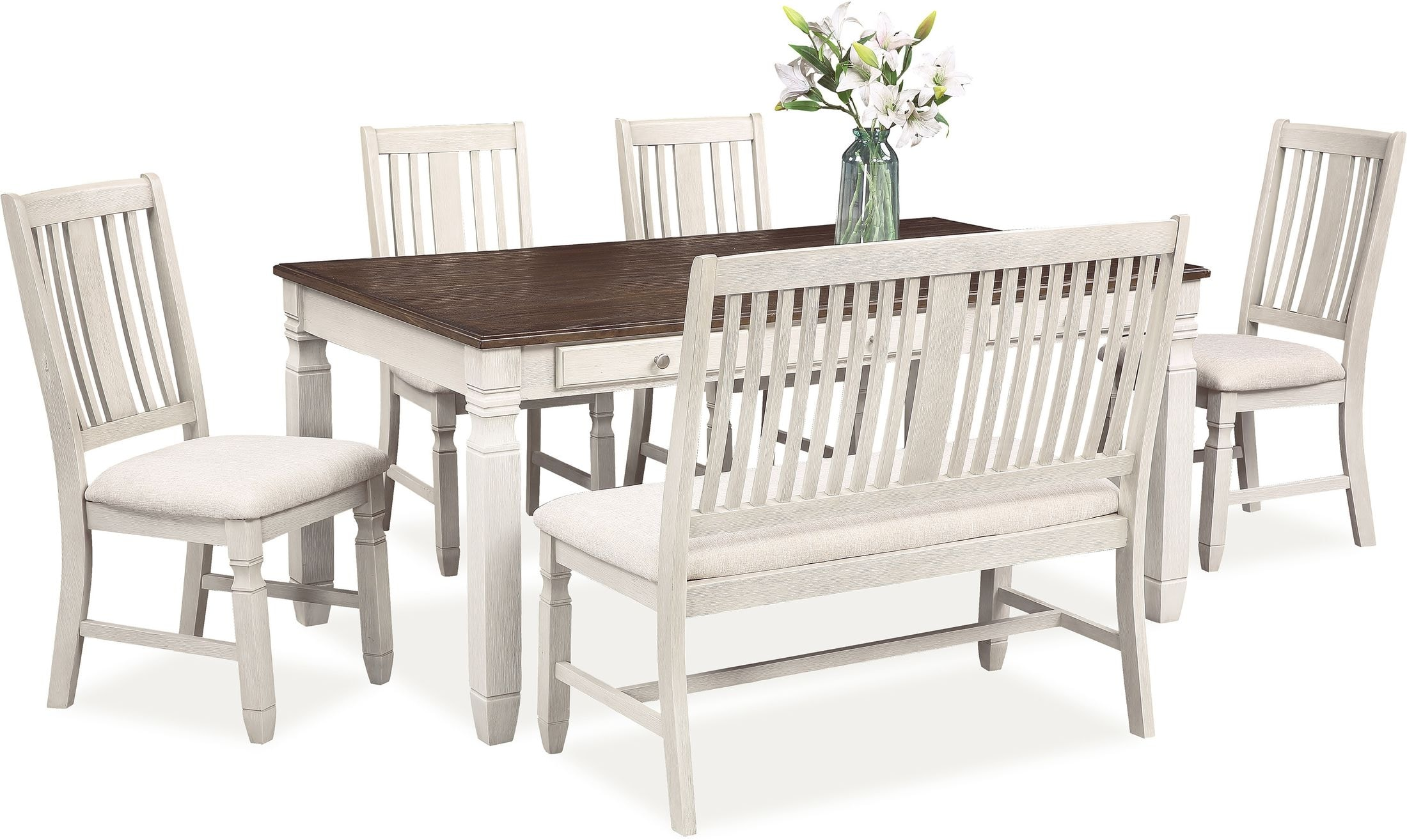 Dining Room Furniture - Glendale Dining Table, 4 Chairs and Bench