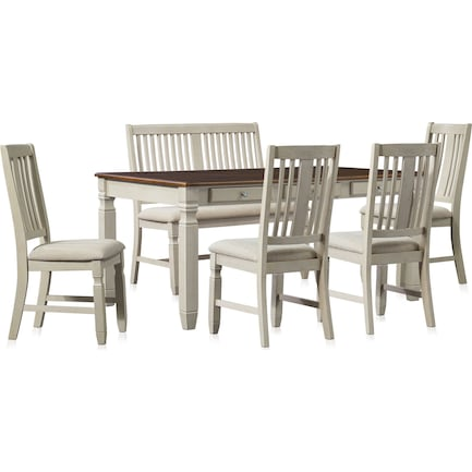 Glendale Dining Table, 4 Chairs and Bench - White