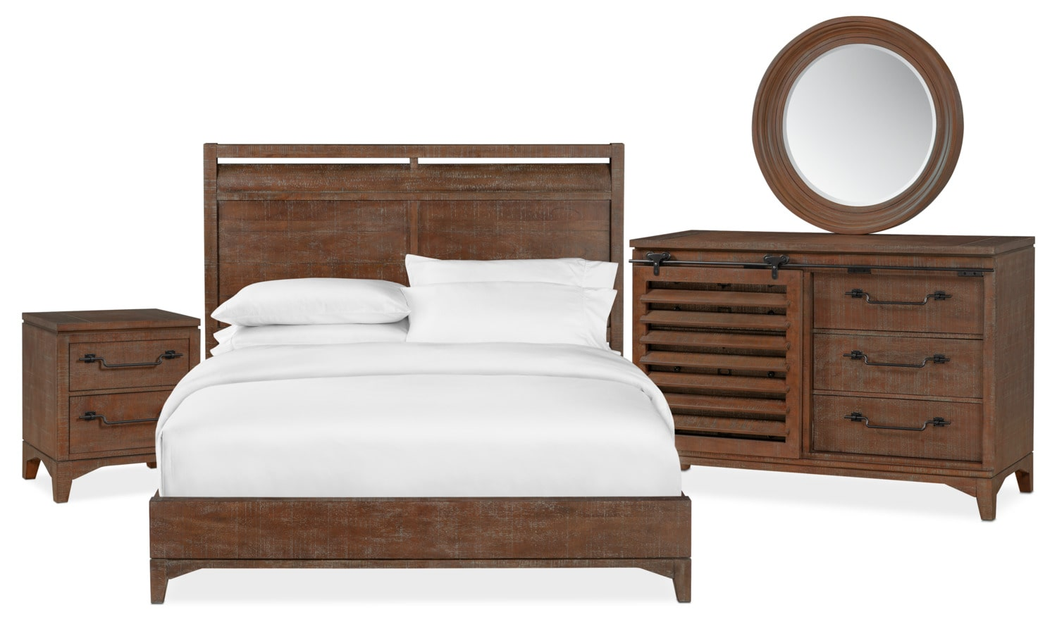 Bedroom Furniture - Gristmill 6-Piece Bedroom Set with Nightstand, Dresser and Mirror