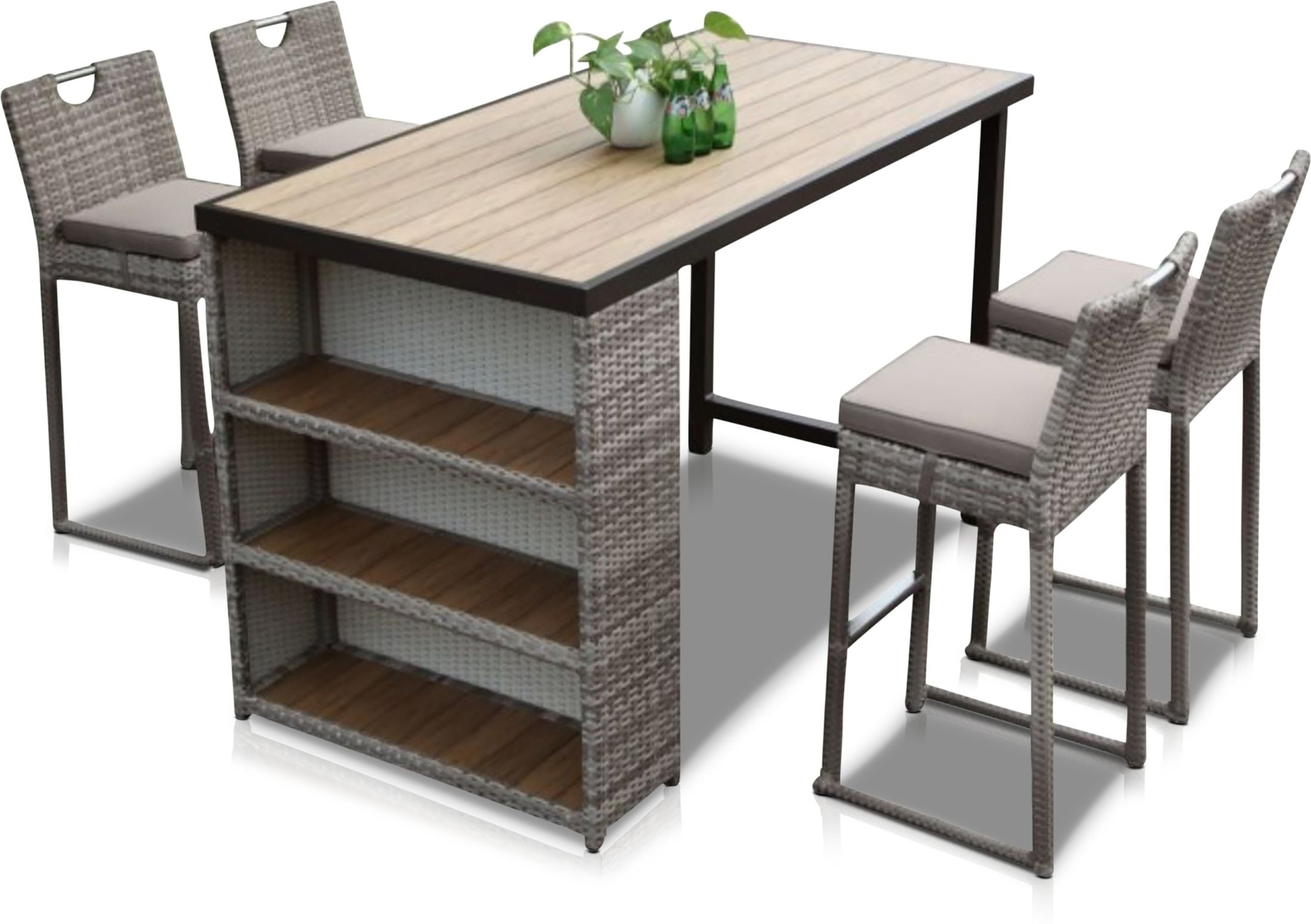Outdoor Furniture - Gulfport Outdoor Bar and 4 Stools