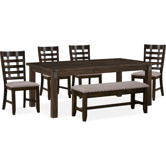Dining Room Furniture - Hampton Dining Table, 4 Side Chairs and Storage Bench