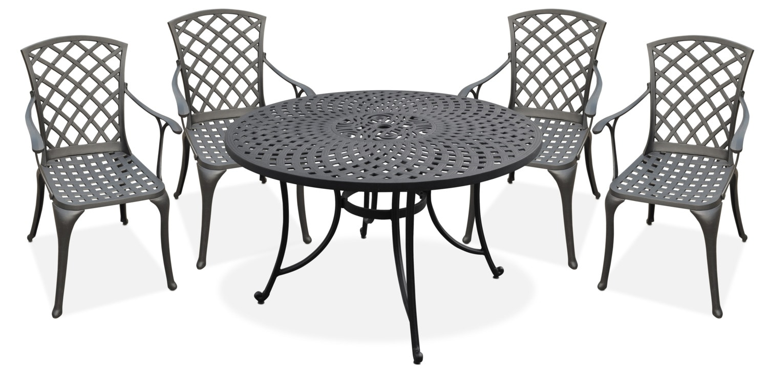"""Outdoor Furniture - Hana Outdoor 46"""" Dining Table and 4 High-Back Arm Chairs"""