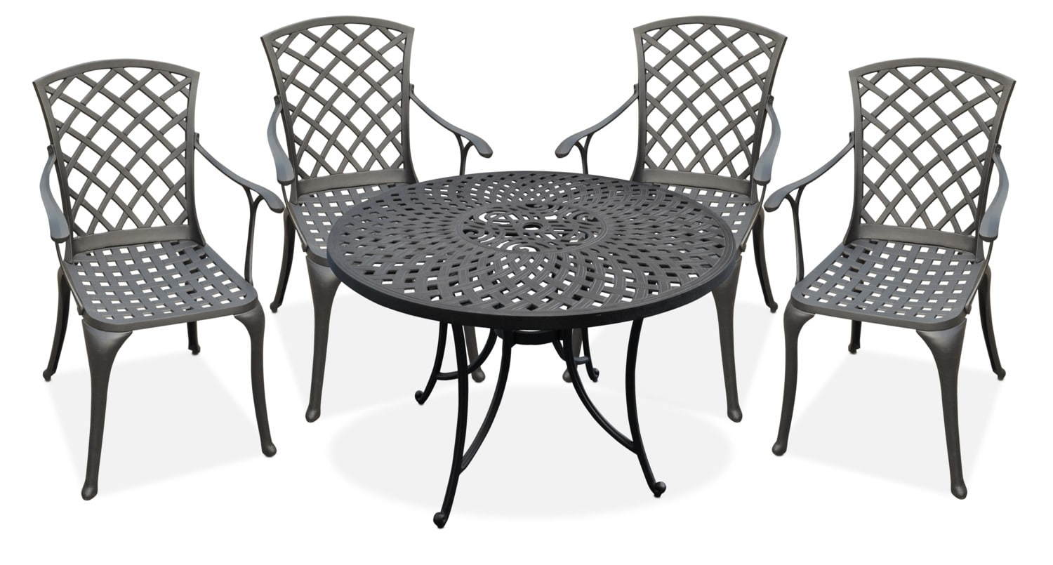 """Outdoor Furniture - Hana Outdoor 42"""" Dining Table and 4 High-Back Arm Chairs"""
