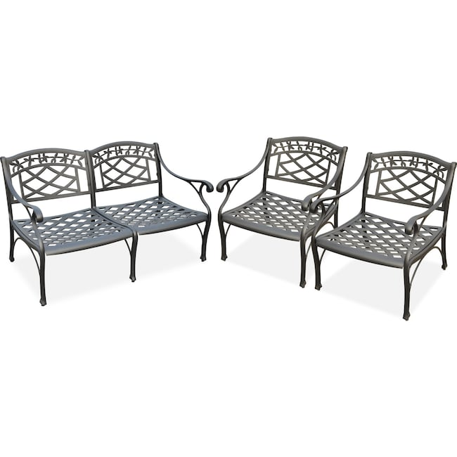 Outdoor Furniture - Hana Outdoor Loveseat and 2 Chairs Set