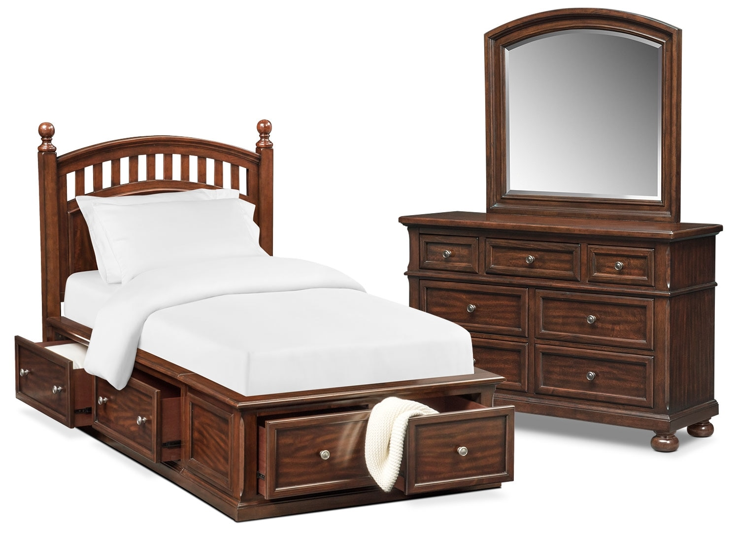 Kids Furniture - Hanover Youth 5-Piece Poster Storage Bedroom Set with Dresser and Mirror