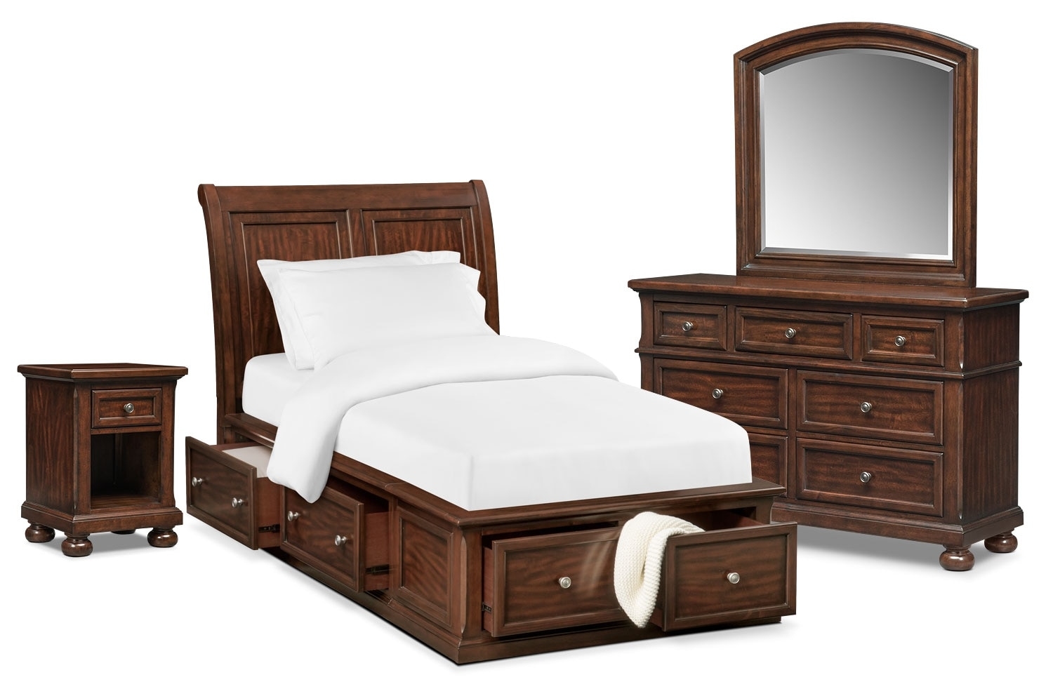 Bedroom Furniture - Hanover Youth 6-Piece Sleigh Storage Bedroom Set with Nightstand, Dresser and Mirror