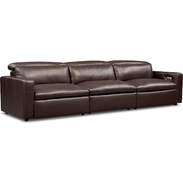 Happy 3-Piece Dual-Power Reclining Sofa - Brown
