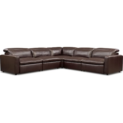Happy 5-Piece Dual-Power Reclining Sectional with 3 Reclining Seats - Brown