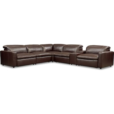 Happy 6-Piece Dual-Power Reclining Sectional with 3 Reclining Seats - Brown