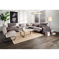 happy dark brown  pc power reclining sectional