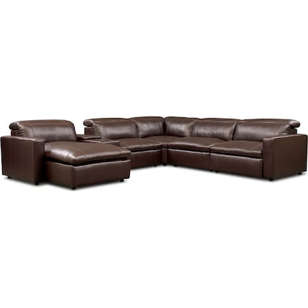 Happy 6-Piece Dual-Power Reclining Sectional with Left-Facing Chaise and 2 Reclining Seats - Brown