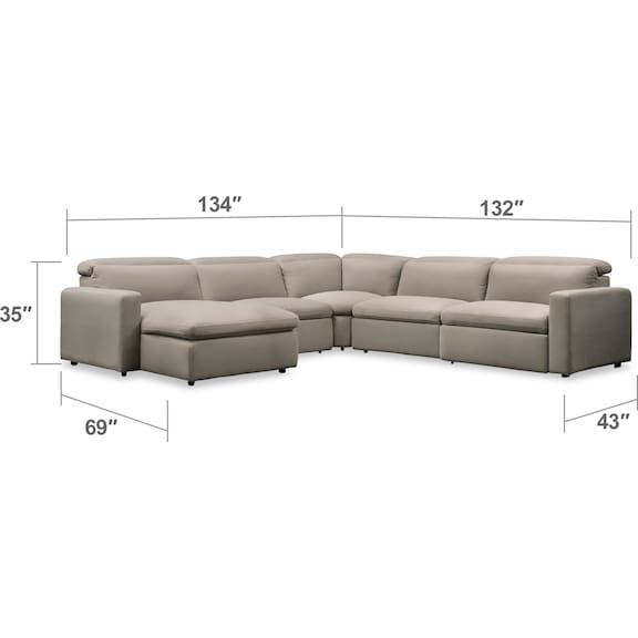 Living Room Furniture - Happy 5-Piece Dual-Power Reclining Sectional with Chaise and 2 Reclining Seats