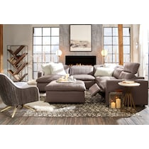 happy gray power reclining sectional