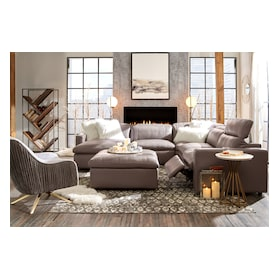 Happy 5-Piece Dual-Power Reclining Sectional with Chaise and 2 Reclining Seats