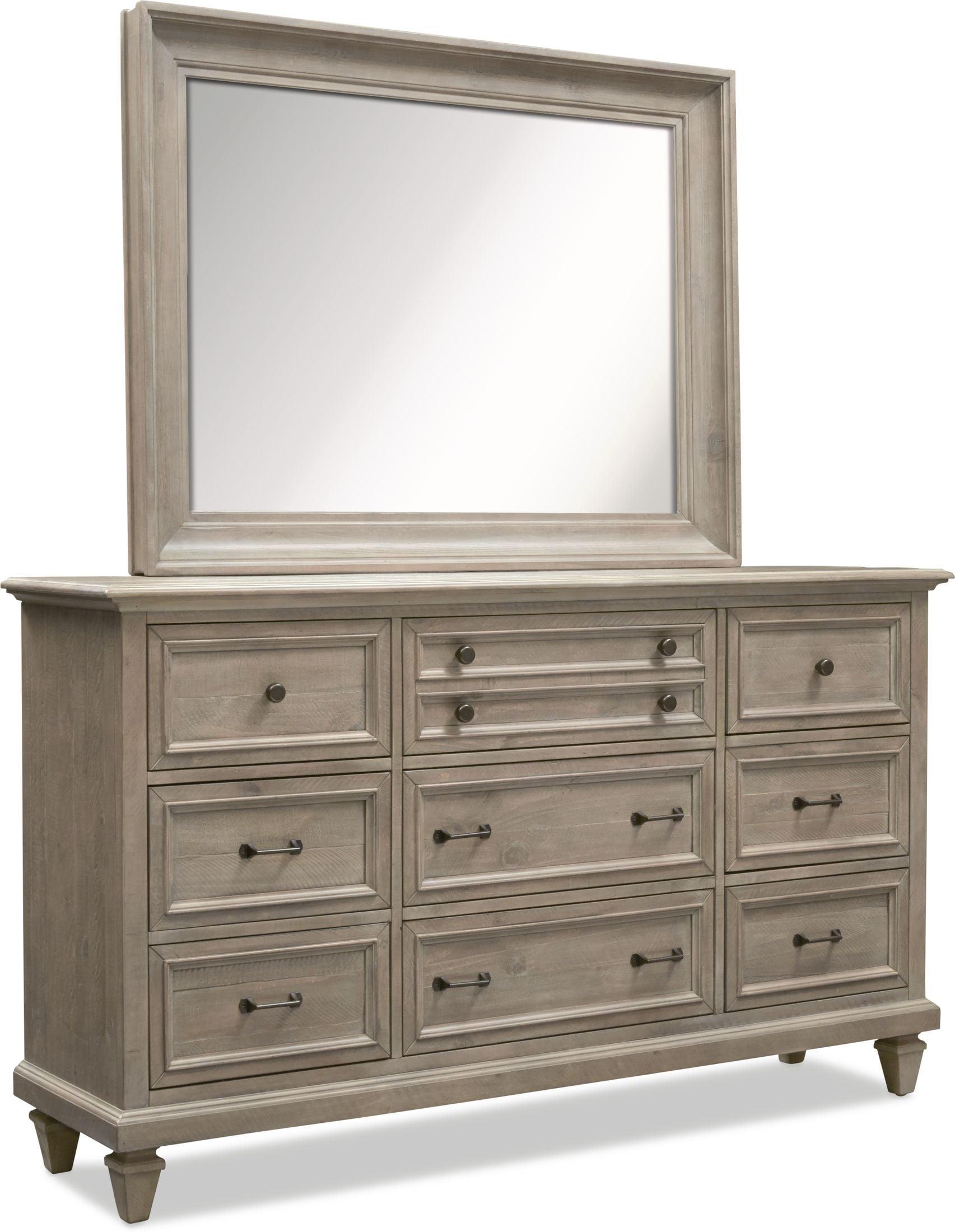 Bedroom Furniture - Harrison Dresser and Mirror - Gray
