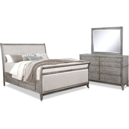 Hazel 5-Piece Queen Upholstered Storage Bedroom Set with Dresser and Mirror - Gray