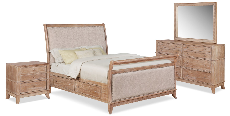 Bedroom Furniture - Hazel 6-Piece Upholstered Bedroom Set with 2-Drawer Nightstand, Dresser and Mirror