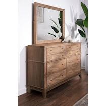 hazel light brown dresser & mirror