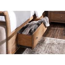 hazel light brown queen storage bed
