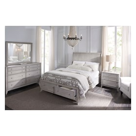 Hazel 6-Piece Bedroom Set with 2-Drawer Nightstand, Dresser and Mirror