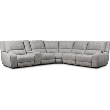 Holden 6-Piece Dual-Power Reclining Sectional with 3 Reclining Seats - Stone