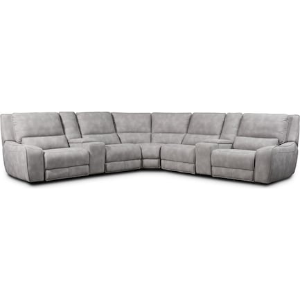 Holden 7-Piece Dual-Power Reclining Sectional with 3 Reclining Seats - Stone