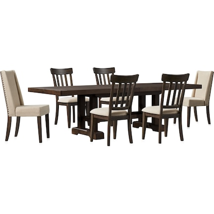 Hughes Dining Table, 2 Host Chairs and 4 Dining Chairs